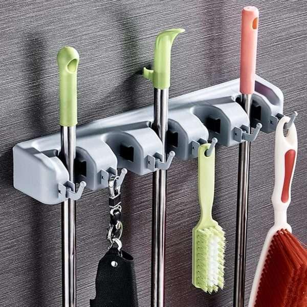 Broom Mop Holder/Hanger with Hooks/3 Slots