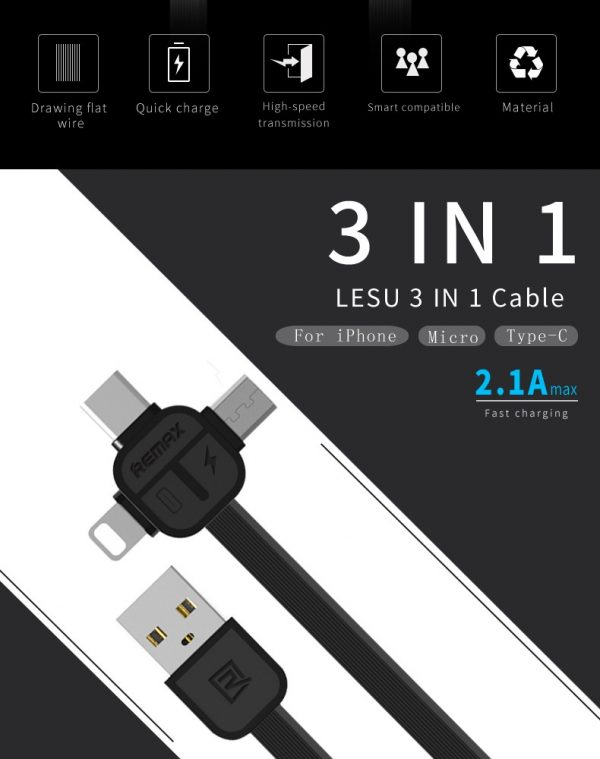 Remax cerpexov 3 in1 Data Cable and charger