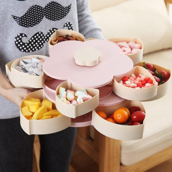 Rotatable Storage Container Flower Petal Snacks Box