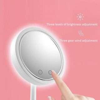 5X Magnifier LED Lamp Desktop Makeup Mirror with Fan 3 in 1